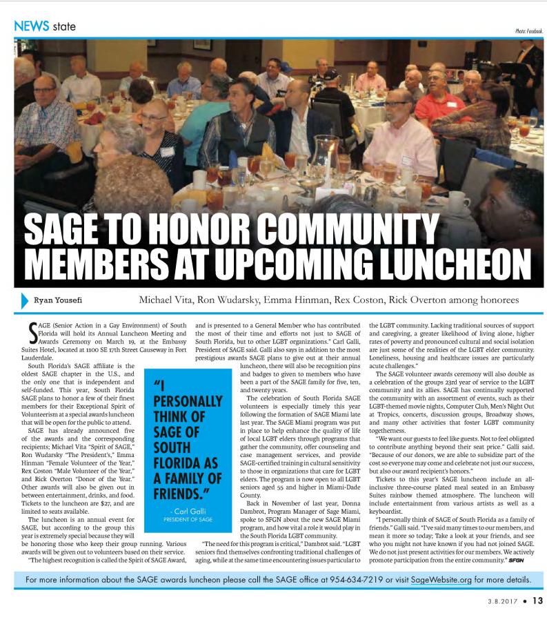 SAGE of South Florida Annual Meeting featured in South Florid Gay News.