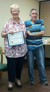 Jean Arthurton receives Certificate of Appreciation
